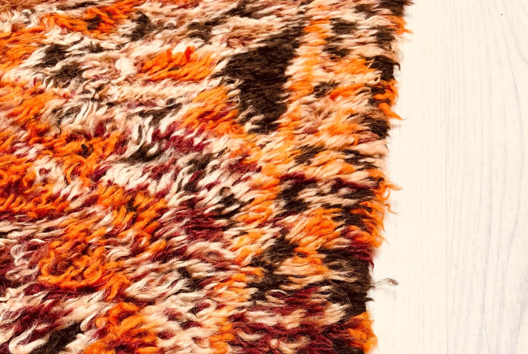 Vintage Rug Orange Purple and Brown