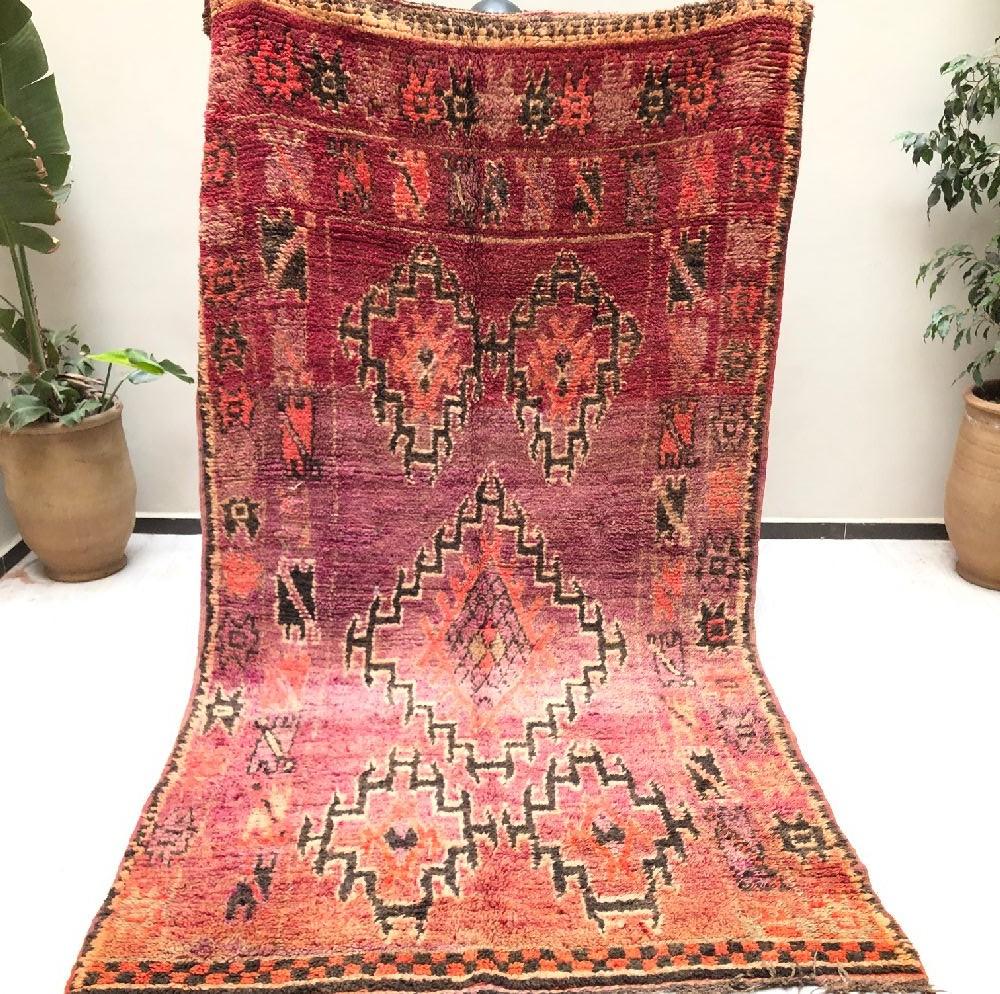 Rustic Vintage Rug Shades of Red / Purple and Dark Brown