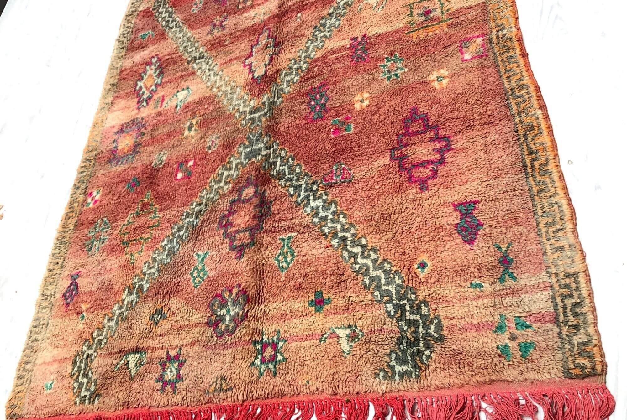 Petit tapis Vintage fond nuances rose/violet