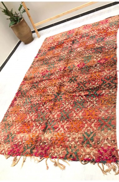 Vintage Rug White, pink, blue and gray