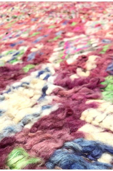 Tapis Vintage mauve laine épaisse effilochée