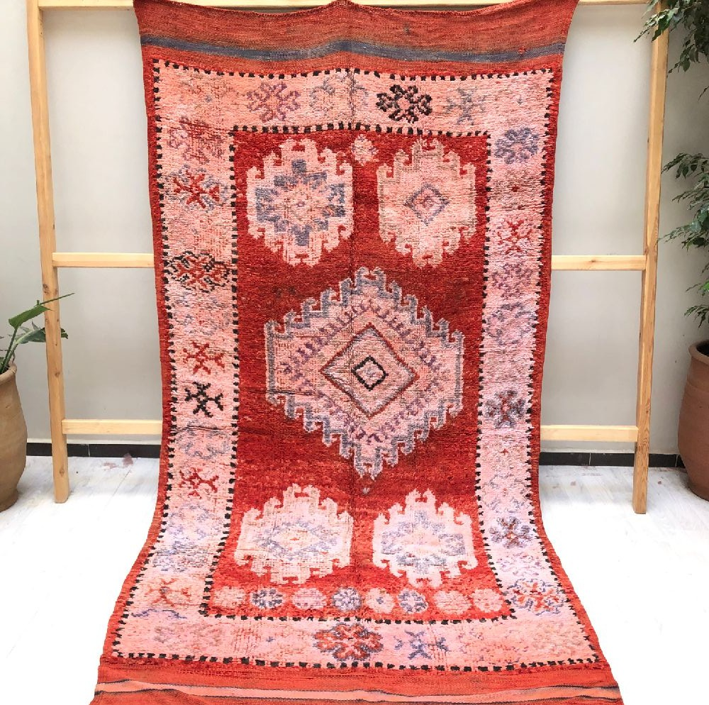Vintage carpet on kilim weft