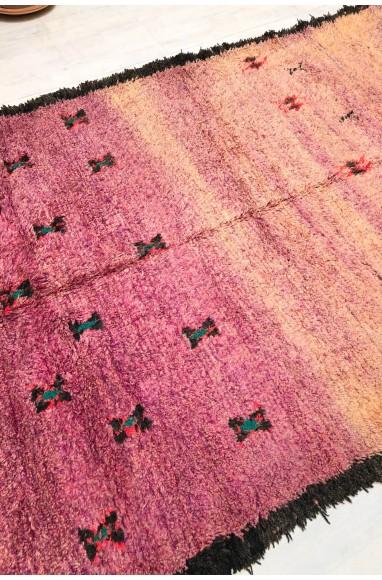 Vintage rug fine and soft wool frayed