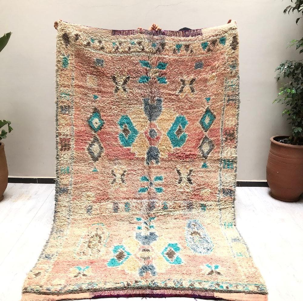 Vintage rug on kilim weft shades of purple and pink