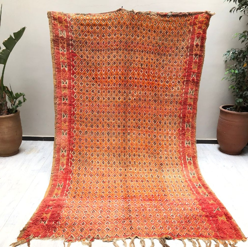 Vintage rug mixed with two thin and thick wools