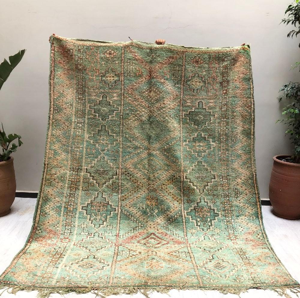 Tapis Vintage allure ethnique tons gris vert