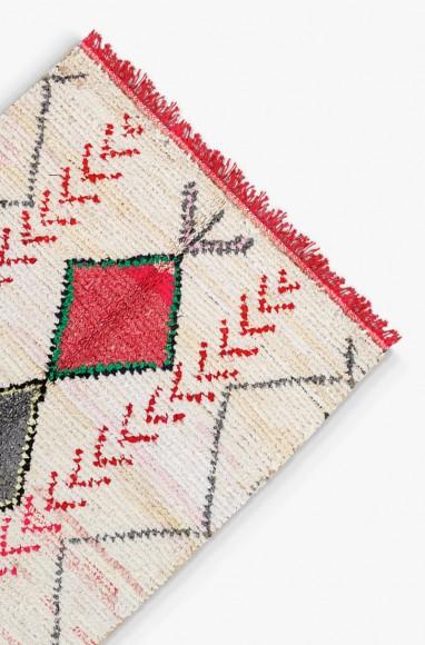 Tapis berbère vert et gris - Boucherouite