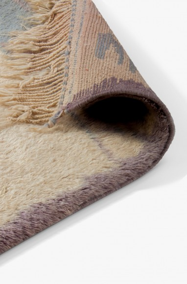 Tapis Azilal gris et bleu clair - tapis berbère en laine