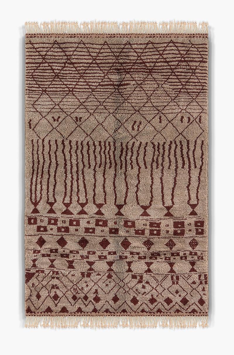 Dark Red Beni Ouarain Berber Carpet