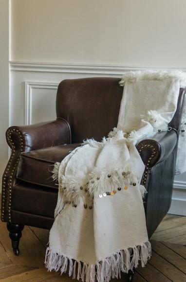 Handira berbère blanche en laine
