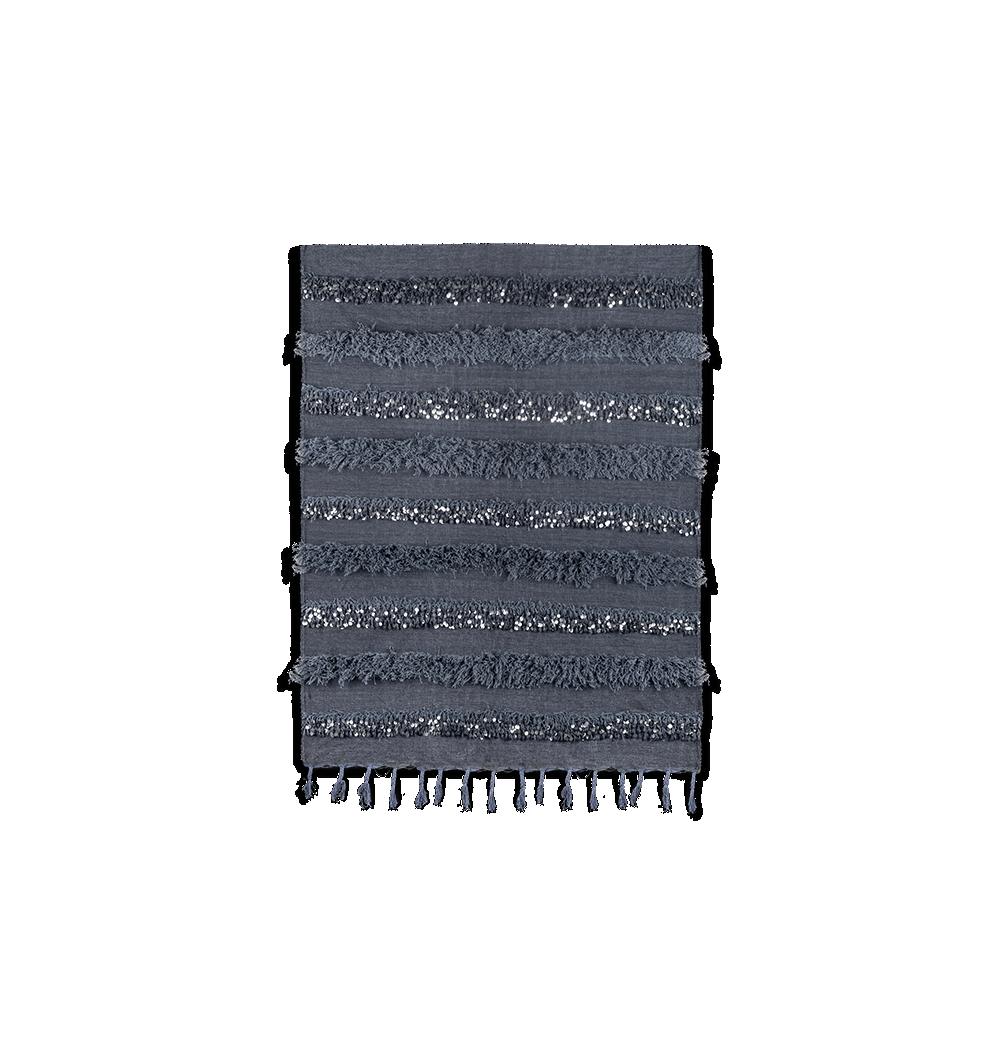 Handira berbère bleu et gris en laine