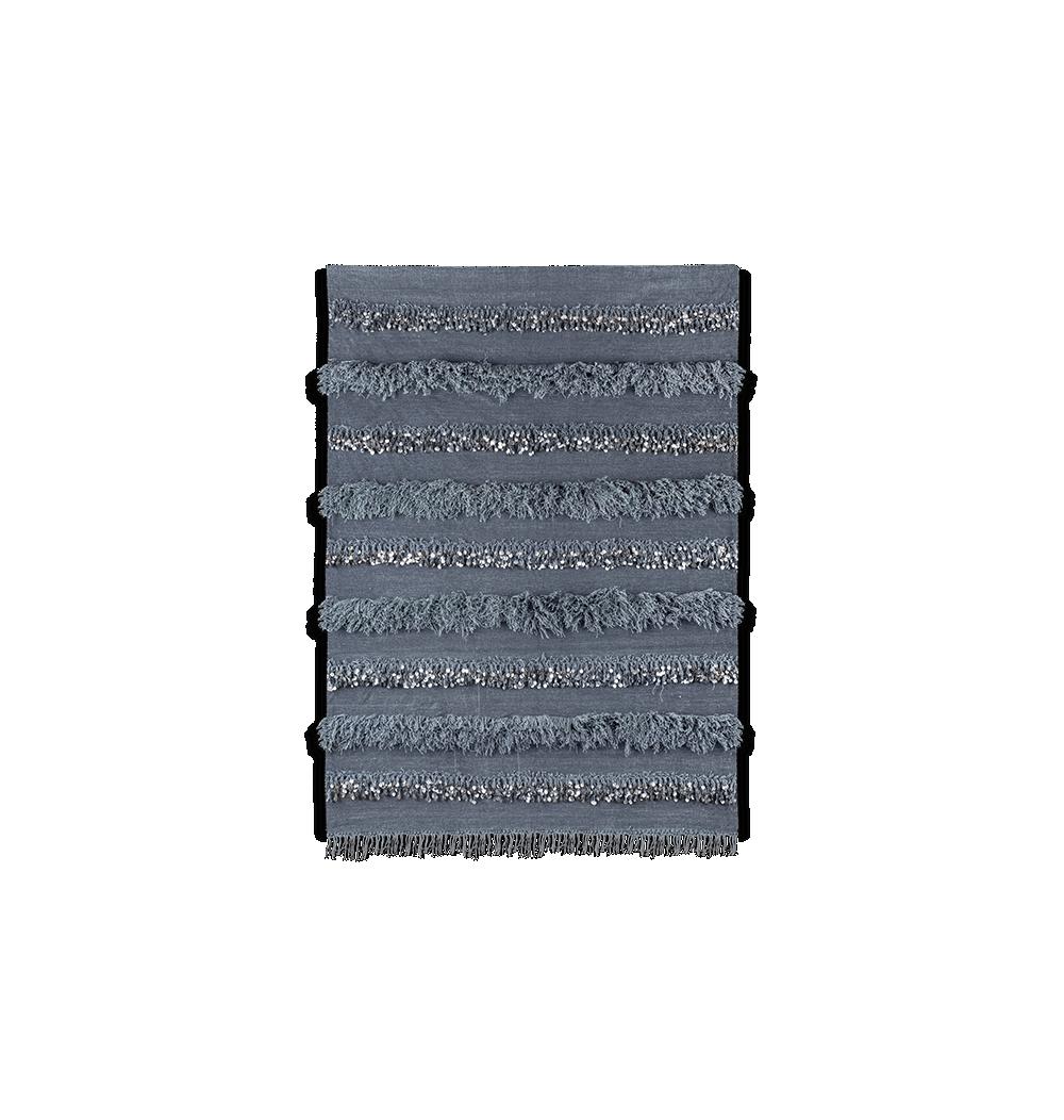 Handira berbère gris en laine et coton