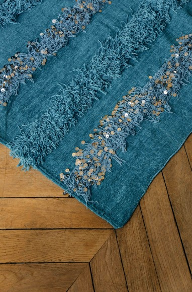 Handira berbère bleu en laine