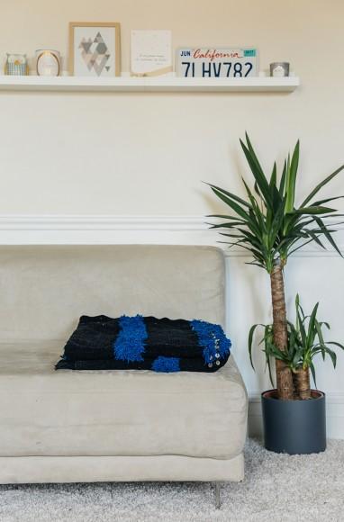 Handira berbère noir et bleu en laine