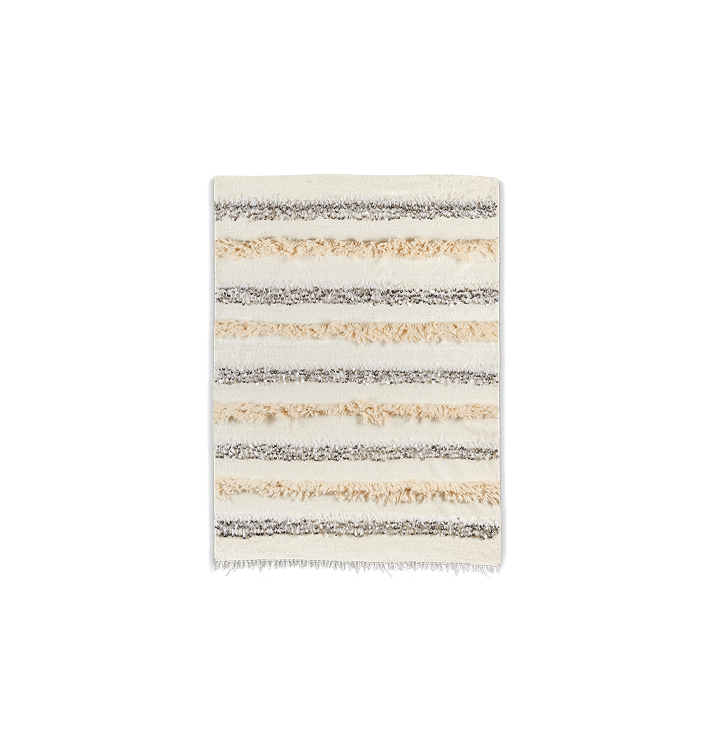Handira berbère blanc et franges écrues