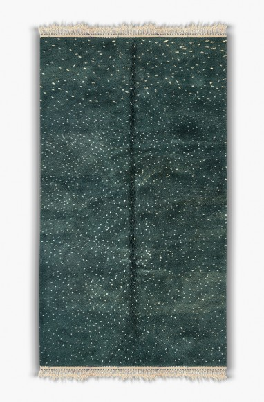 Tapis Berbère vert à pois blanc