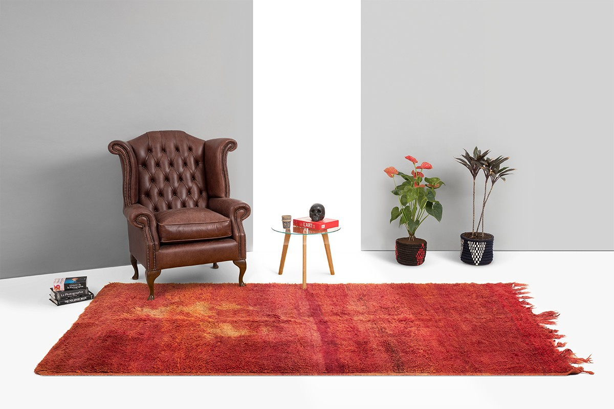 Carmine vintage berber rug