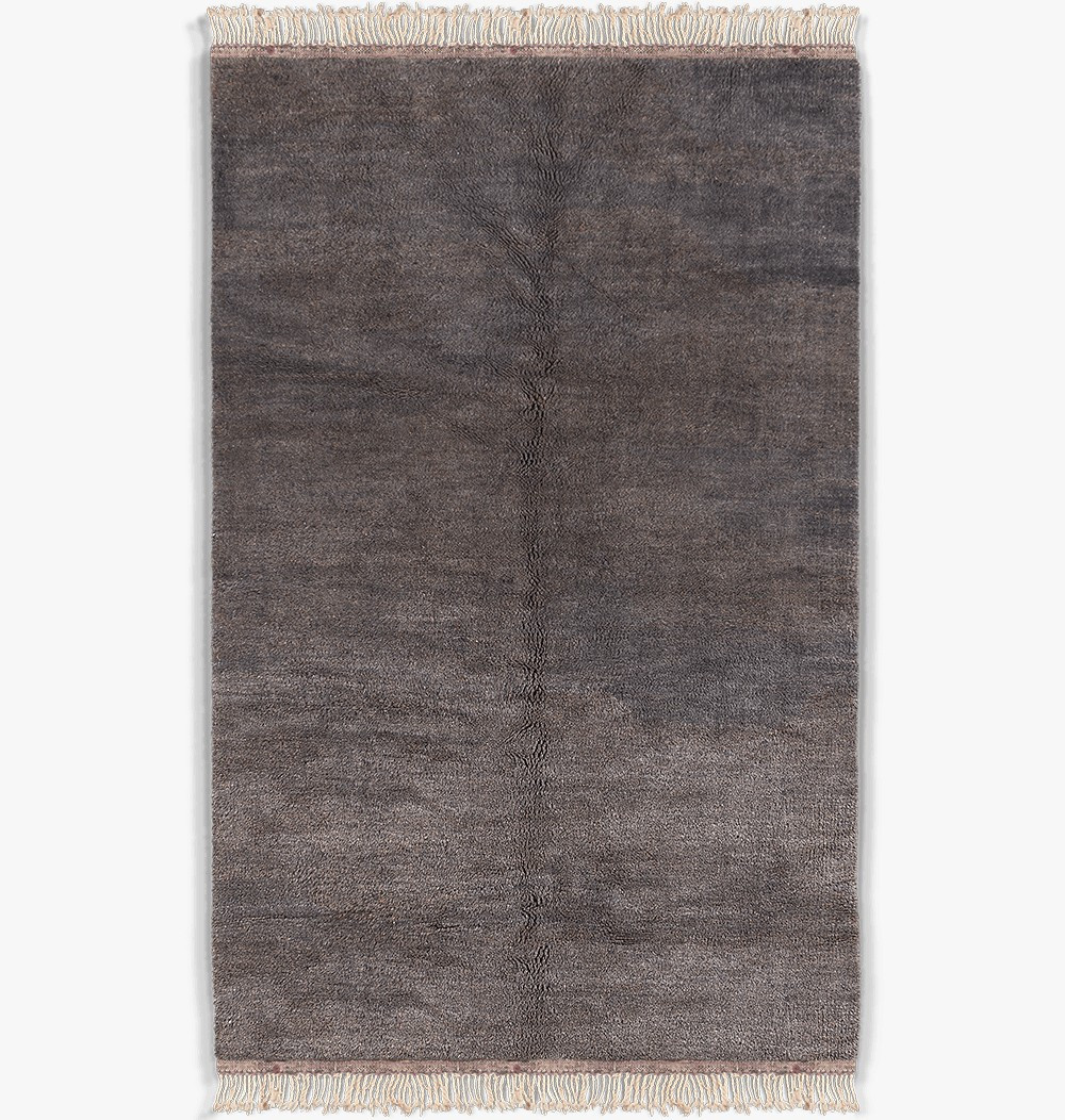 Tapis berbère uni bleu et gris en laine