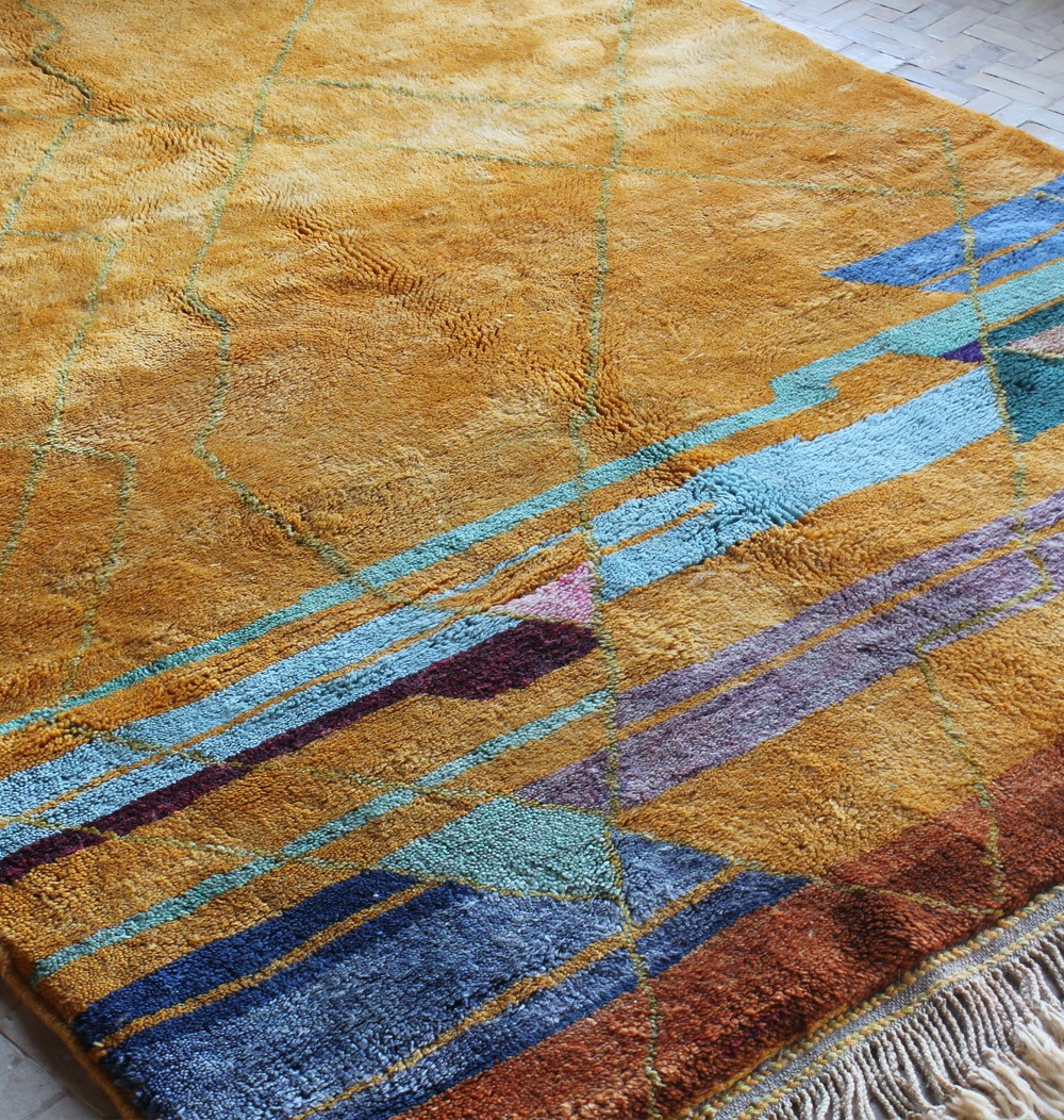 Orange and colored Mrirt berber carpet