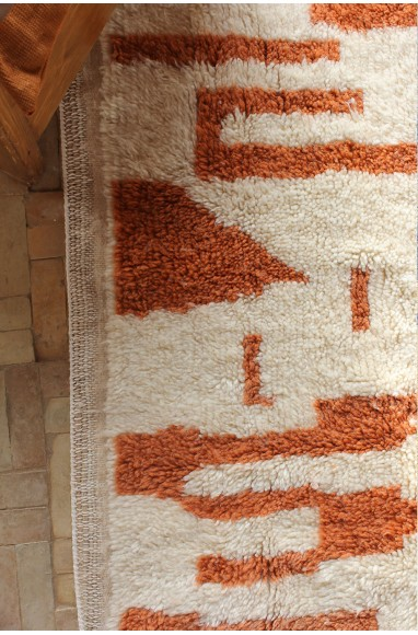 azilal rug bright brown and creamy white