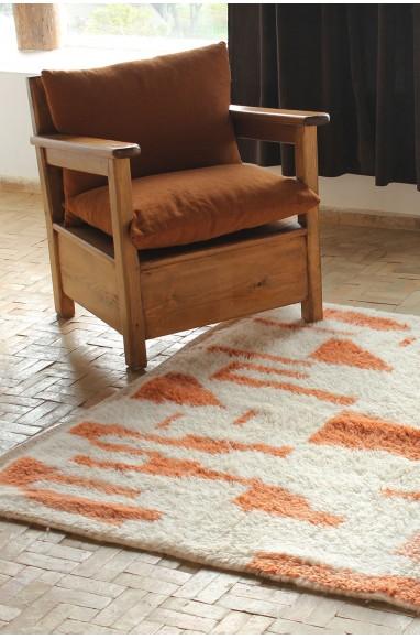 tapis azilal marron vif et blanc crème