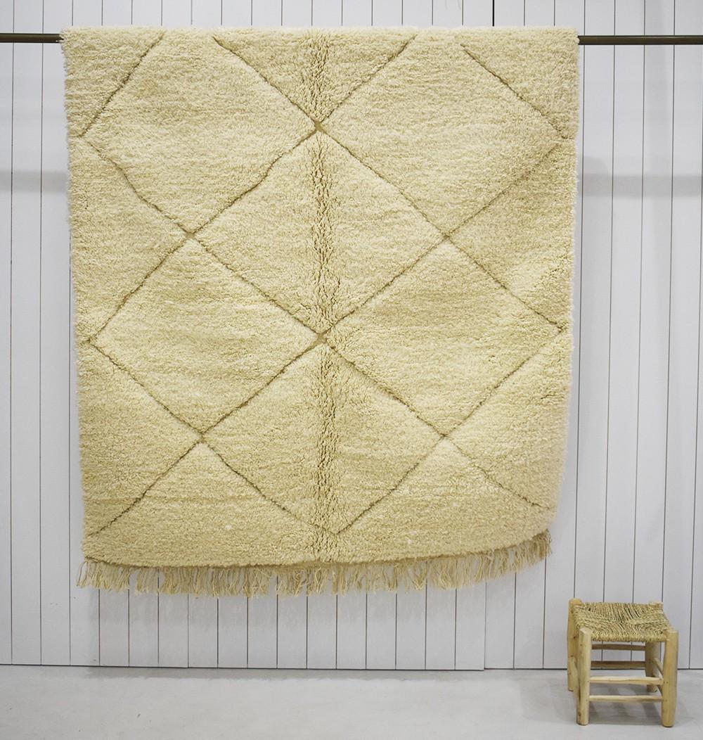 Beige Berber carpet woven in kilim