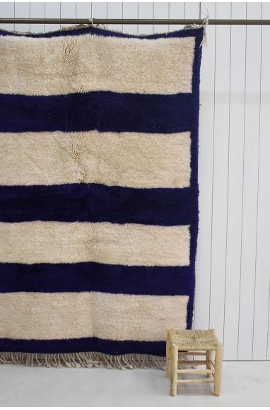 Petit tapis bleu et blanc