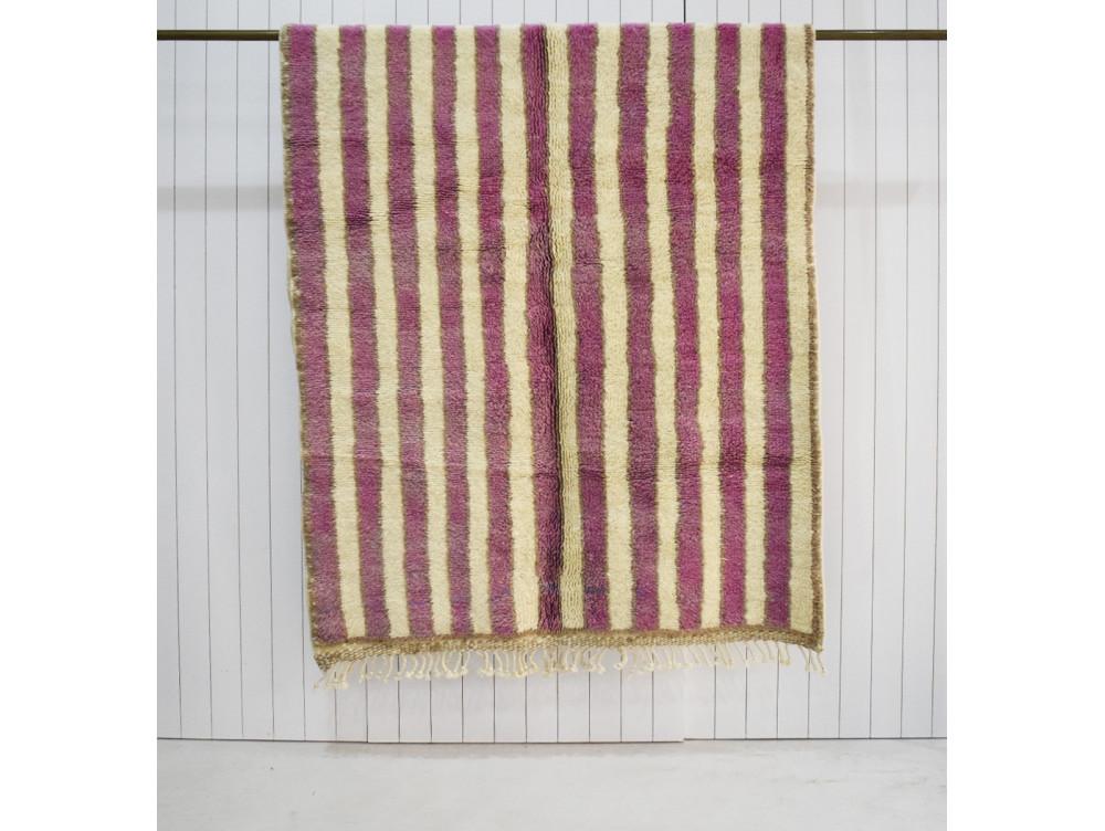 petit tapis berbere rose et blanc 150 x 270