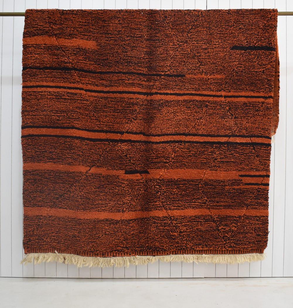 Tapis Berbère laine épaisse orange et noir