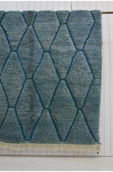 Tapis relief Mosaïque losanges mouchetés vert et écru