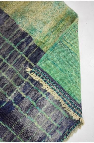 Petit Tapis Gris, bleu, quadrillage vert amande