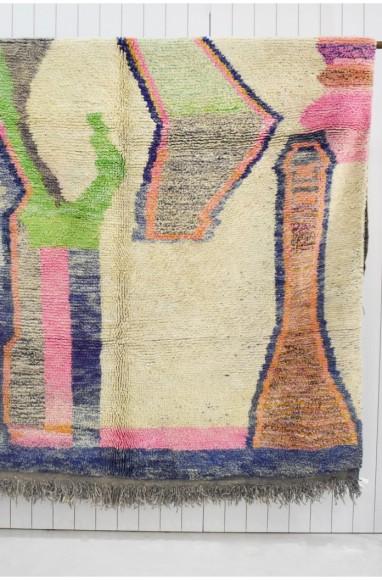 Tapis berbère multicolore aux tons doux