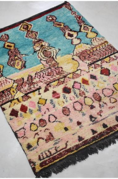 Tapis berbère de laine, bleu ciel et rose pâle