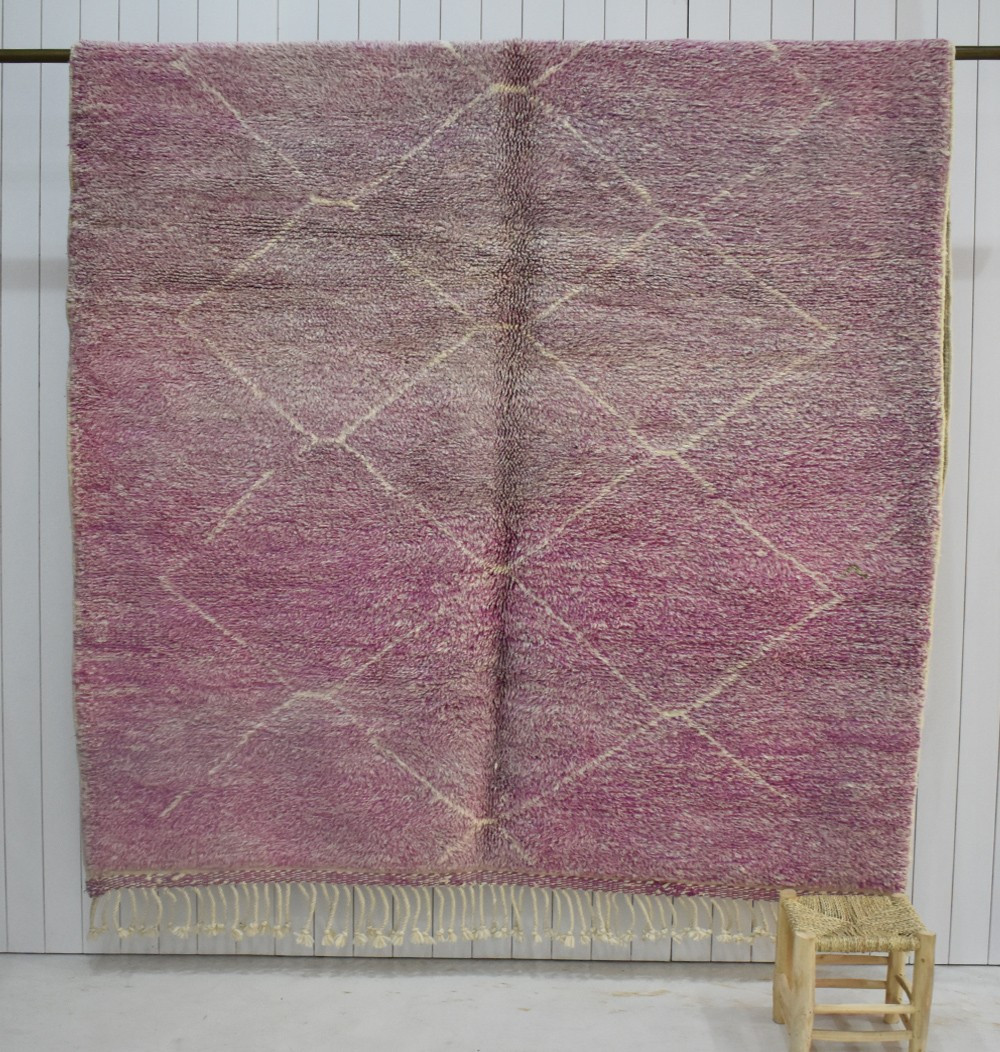 Mrirt rug pink background, purple ecru diamonds
