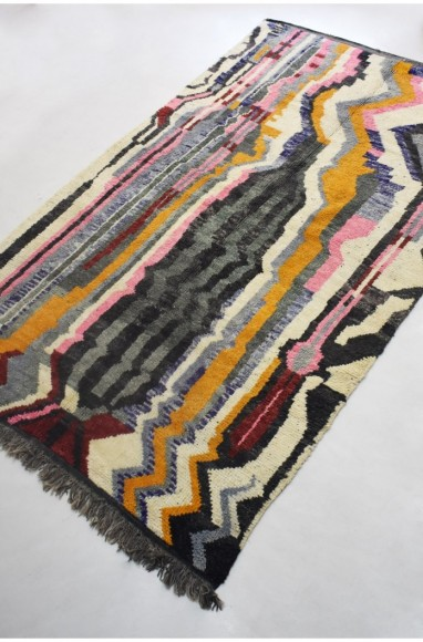 Berber carpet with geometric ethnic effects shades of gray, black, pink ...