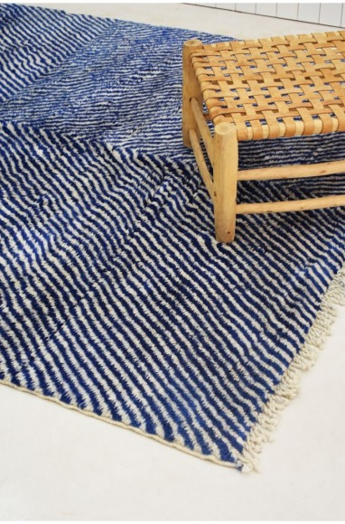 """Africa Zèbre"" gray blue and black zebra look rug"