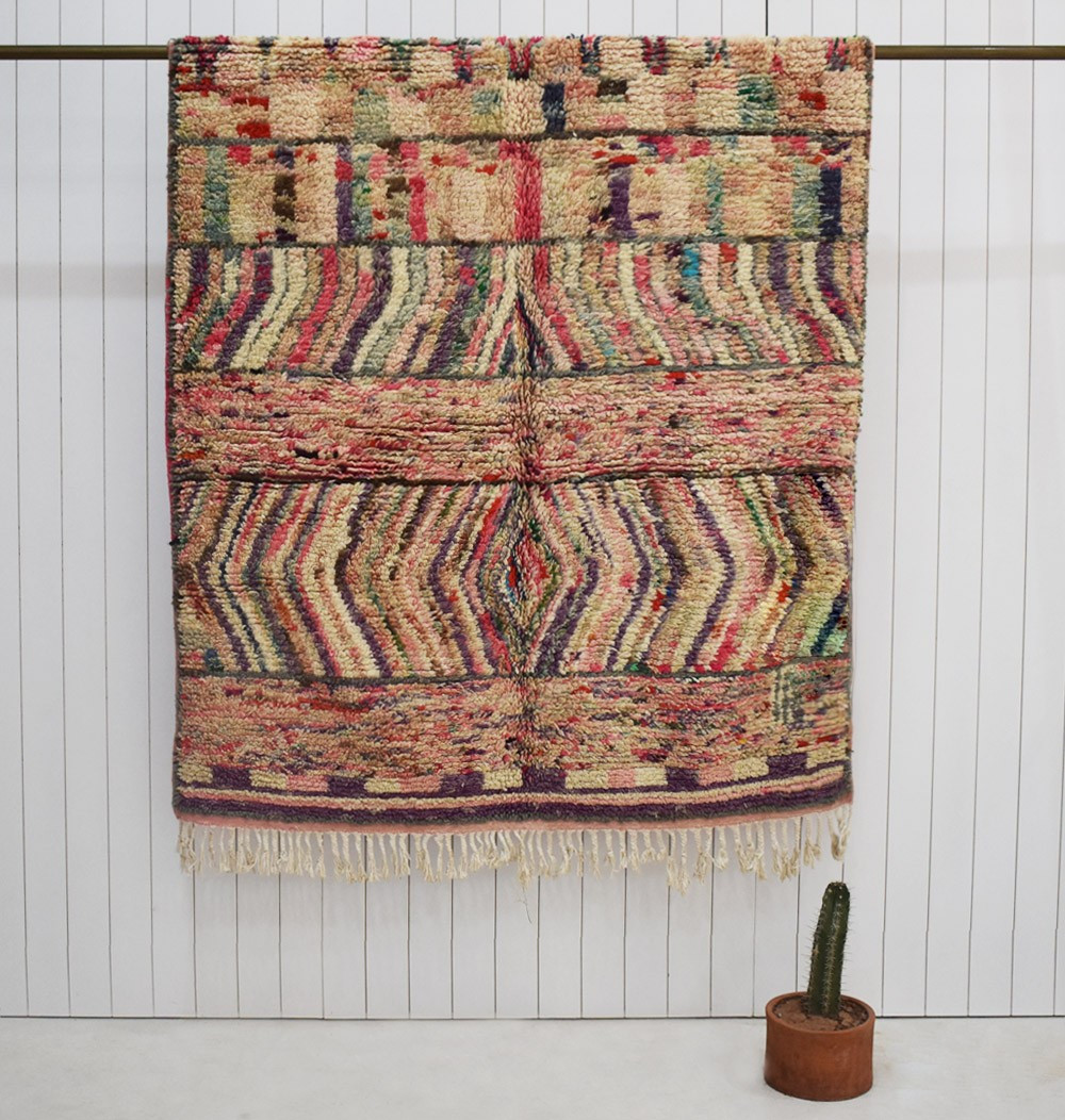 """Berber rug """"Toile de maître"""" in soft shades of purplish and pink ..."""