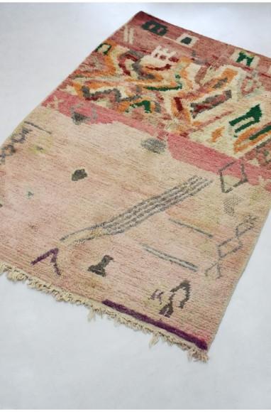 Petit Tapis Berbère moitié/moitié, motifs colorés et fond nuances vert amande et rose pâle