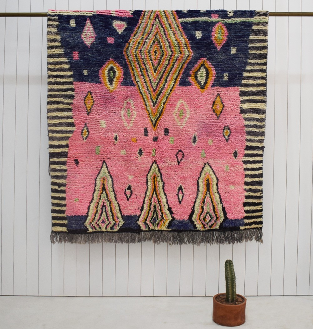 Berber rug ethnic look in pink, navy blue and yellow