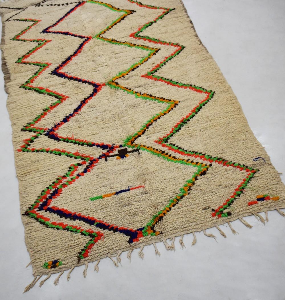 Berber rug Azilal keys fluorescent green and orange