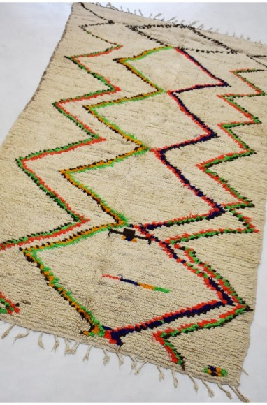Berber rug Azilal keys fluorescent green and orange