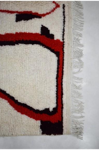 Berber carpet Azilal beige black and red