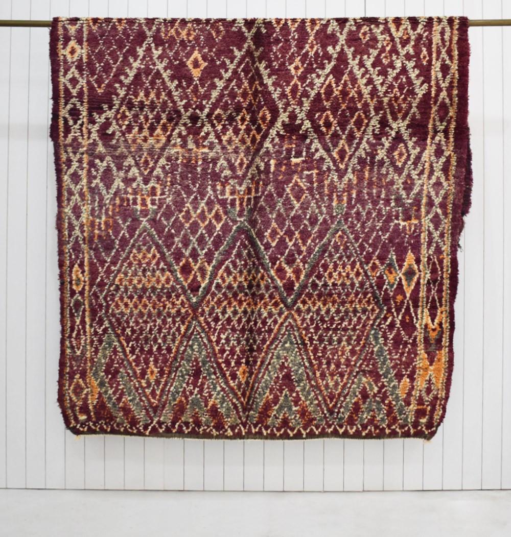 Vintage Berber rug in orange and green