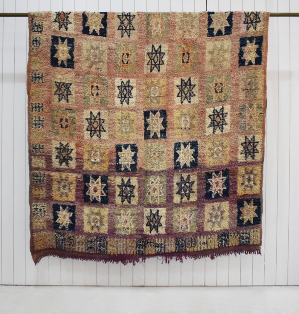 Small berber rug Vintage Black red and beige