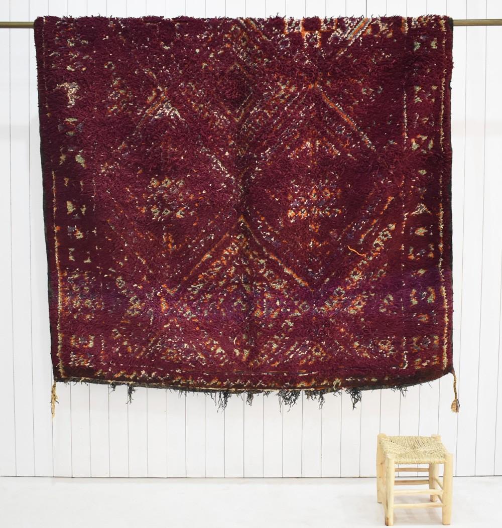 Vintage Berber rug in plum and burgundy tones