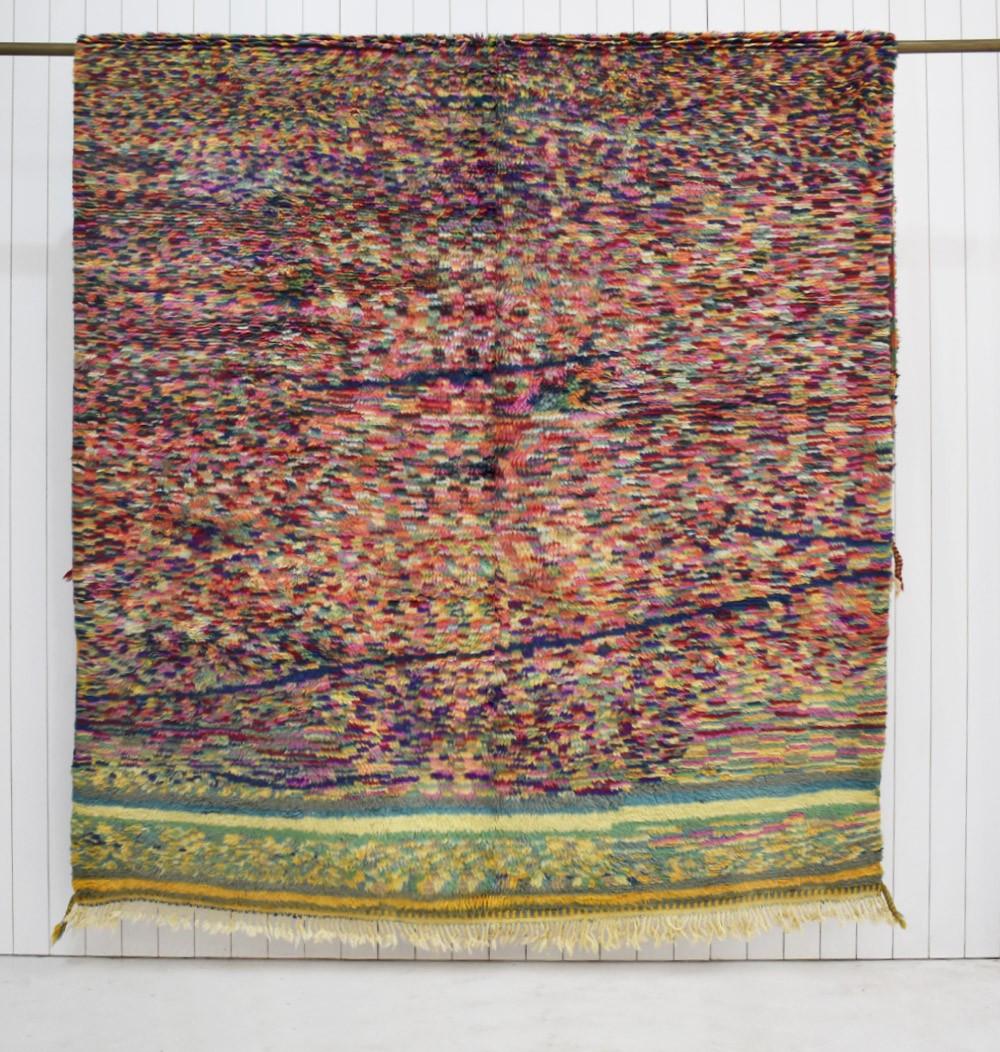 Petit tapis berbère moucheté multicolore