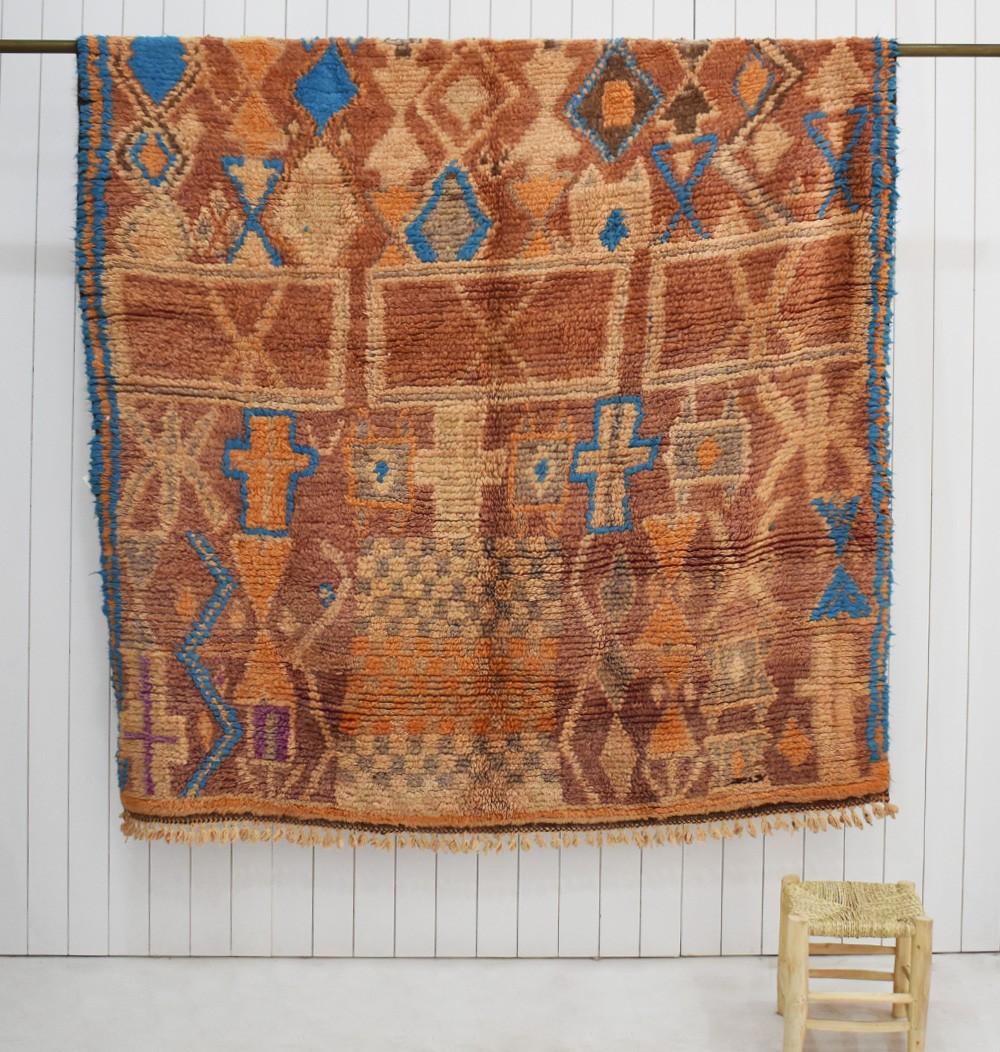 Petit tapis berbère Mrit, beige rose, taupe et bleu