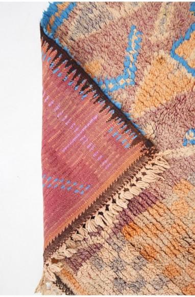 Petit tapis berbère Vintage orange et bleu