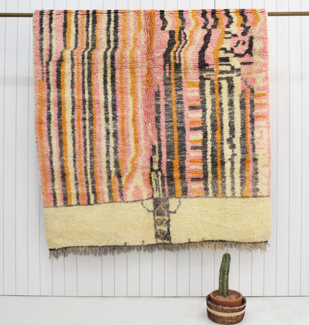 Berber carpet Azilal vertical lines