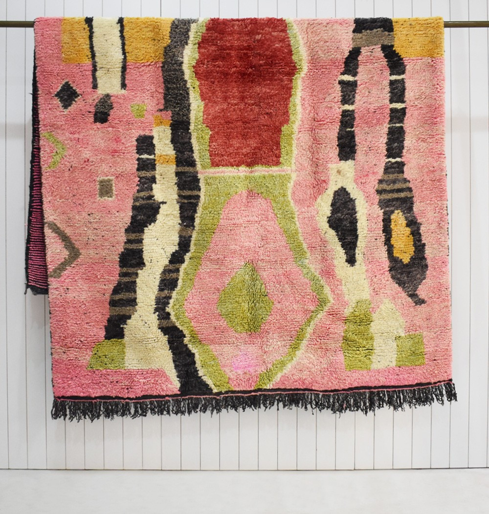 Berber carpet dominant in pink